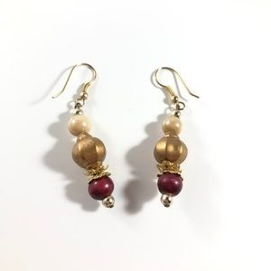 NWOT Red and Gold Dangly Earrings